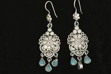 Sterling Silver Turquoise Dangling Ethnic Earrings
