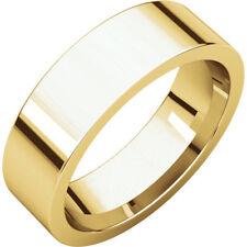 6mm 14K Yellow Gold Plain Flat Design Comfort Fit Wedding Band Ring Size 9