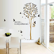 Fresh Style Brown Tree Birds DIY Removable Wall Stickers Wall Decoration DIY