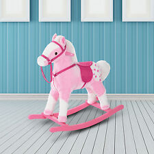 HOMCOM Kids Rocking Horse Toy Plush Wood Pony Riding Rocker w/ Neigh Sound Pink