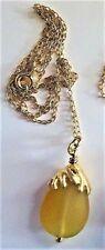 Sterling Silver Gold Vermeil UNDER $20 Chain Citrine Pendant Vintag Necklace N15