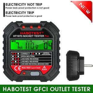 HABOTEST GFCI-Steckdosentester mit Spannungsanzeige 90-250 V J3R6 Detektor Neu