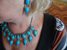 genuine turquoise and diamond necklace and earrings set in silver