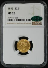 1853 $2 1/2 LIBERTY HEAD GOLD QUARTER EAGLE, NGC/CAC MS62