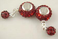 hot Gorgeous Czech Crystals Dangle Bead fit European Charm Bracelet Earrings h7