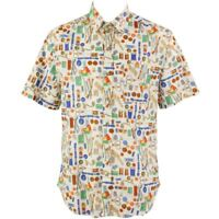 Mens Loud Shirt Retro Psychedelic Festival Party Funky Sewing Beige  REGULAR