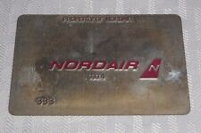 Rare Vintage Nordair Metal Ticket Validation Plate Travel Agency