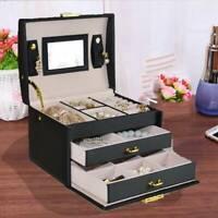 Black Jewellery Box Cabinet Necklace Ring Bracelet Mirror Lock Organizer 3 Layer
