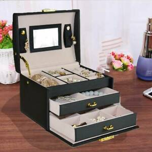 3 Layer Jewellery Box Cabinet Necklace Ring Bracelet Mirror Lock Organizer Gift