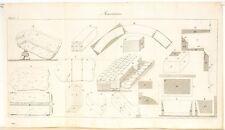 Stampa antica COSTRUZIONI MURATURA pietre Maconnerie Pl 5 1814 Old antique print