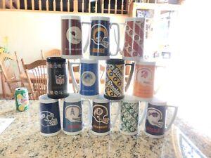 Lot of 12 Vintage Thermo Serv Insulated Plastic Mug NFL Football chiefs bills