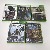 Xbox 360 Lot of 5 Video Games Bundle Prototype Bioshock Assassins Creed COD 3