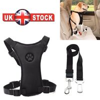 NEW MESH Pet Dog Car Harness and Seat belt Clip Lead Safety for Dogs Travel UK