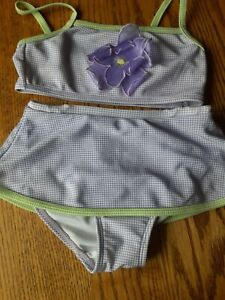 KOALA KIDS BATHING SUIT - SIZE 36 Months - TINY PURPLE AND WHITE CHECKS W/FLOWER