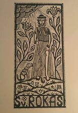 "Original Woodcut Print ""Saint Roch"" by Lithuanian Traditional Artist"