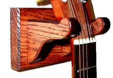Oak Guitar Hanger Wall Mount Stringed Instrument Display - Red Mahogany Finish