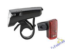AXA Akku LED Beleuchtungs Set Green Line 35 Frontleuchte 35 Lux & LED Rücklicht