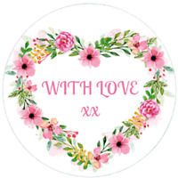 48 Personalised Floral Heart Stickers Gift Tags Labels 40mm