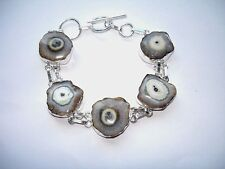 "AB One-of-a-Kind Tan Taupe Solar Druzy Quartz Bracelet Wrist Chain Silver 7-8"""