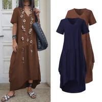 Womens Dresses Short Sleeve Sexy Kaftan Cotton Shirt Dress Beach Summer Sundress