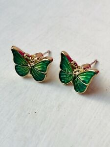 CUTE GREEN BUTTERFLY Stud Earrings Enamel Iridescent Gold Plated Size 1.2 x 1 cm