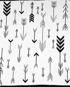 Indus Design Baby Blanket Arrow Natural Beige Black 80cm x 100cm 100% Cotton
