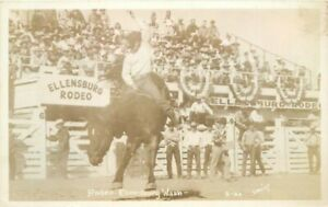 Ellensburg Washington Rodeo Cowboy Smith #2-4A RPPC Photo Postcard 20-7185