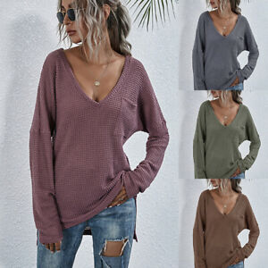 Women Baggy Knitted Oversized Sweater Jumper Ladies Long Pullover Tops Blouse UK