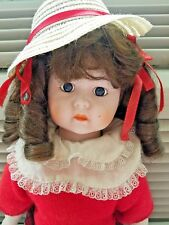 DOLL FROM THE 80'S~BROWN HAIR RED SWEATER STRAW HAT~GOOD CONDITION~A REAL CUTIE~