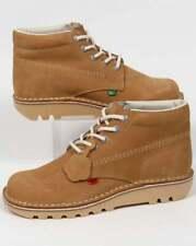 Kickers Kick Hi Boots in Tan - light brown nubuck shoes