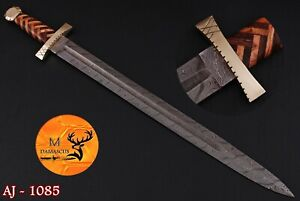 HAND FORGED DAMASCUS STEEL VIKING SWORD WITH WOOD & BRASS GUARD HANDLE - AJ 1085