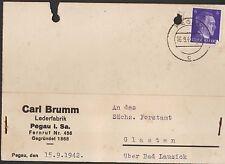 PEGAU, Postkarte 1942, Carl Brumm Leder-FABRIK