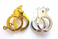 Gold Policeman Policewoman Duty Hand cuffs With Safety Latches Fancy Dress Party