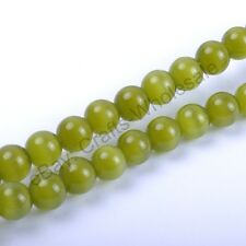 30Pcs Peridot Cat Eye Gemstone Round Loose Beads  4MM