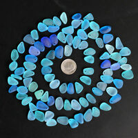 top drilled sea beach glass 20 pcs lot blue cobalt small pendant jewelry use