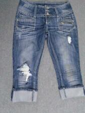 Almost Famous Denim Jeans Capris Distressed Destroyed Size 5