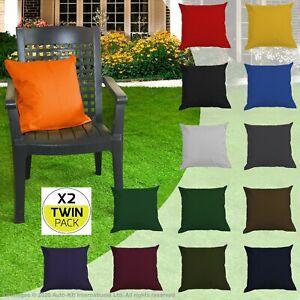 WATERPROOF TWIN PACK Plain Scatter Cushions Garden Outdoor Sofa Home Décor