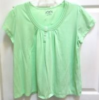 Croft and Barrow Knit Top size 2X Green Short Sleeves
