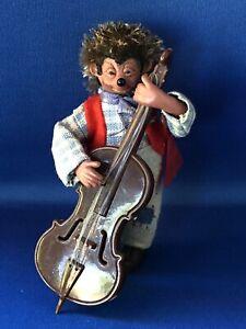 Vintage Orig Peter Mecki Hedgehog Figuren Handmade Austria Double Bass Red Tag
