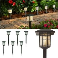 6 Pack Outdoor Led Solar Light Lamp Landscape Pathway Garden Yard Black 6-Lumens