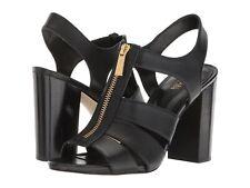 NIB Michael Kors Damita Black Leather Sandal Block Heel Gold Zip 9.5