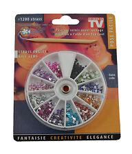 Nail Art Tip Toes Gems Case Sparkle Rhinestones Diamante 1.5mm Multi 12 colours