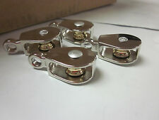 """~ 4pc ~ 1/2"""" x 5/32"""" SINGLE WHEEL BRASS SHEAVE DIE-CAST CHROME PULLEY ROPE WIRE"""