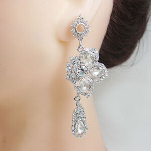 Silver Tone Cubic Zirconia Crystal Wedding Bridal Drop Dangle Earrings