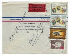 Bogota Colombia Airmail Express to Riverside Illinois, Four Stamps
