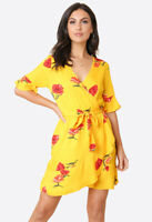 Womens Yellow Floral Print Front Wrap Frill Skirt Mini Casual Summer Dress