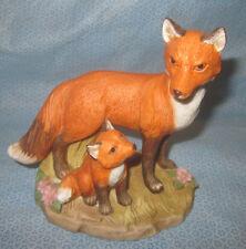 Mom Fox Figurine and Pup Homco