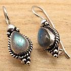 Natural LABRADORITE Gemstone ART Jewelry Earrings  925 Silver Plated