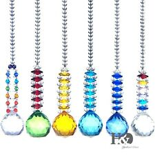 Set 6 Hanging Suncatcher Cut Crystal Ball Pendulum Prism Pendants Drop Gift 30mm