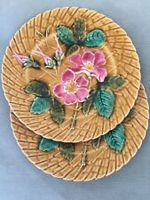 """Vintage / Antique Majolica Floral 8.25"""" Plate PV Made In France - 2 plates B"""